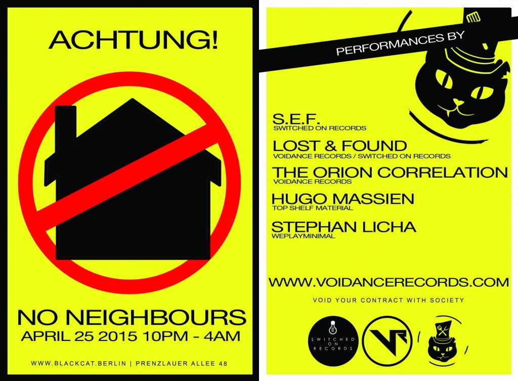 No Neighbors - April 25 2015 Flyer